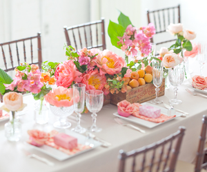 flowers, pink, and table image