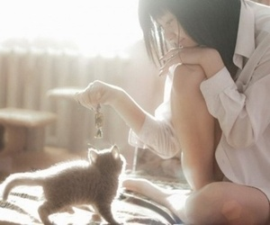girl, kitty, and cute image
