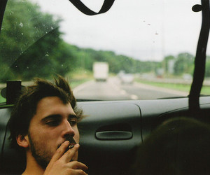 boy, car, and cigarette image