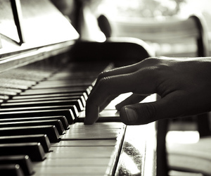 black and white, photography, and piano image