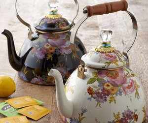 tea, floral, and kettle image