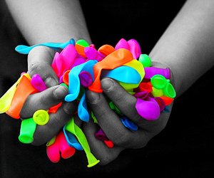 balloons, colors, and neon image