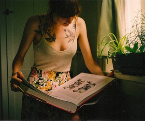 girl, tattoo, and book image