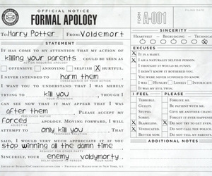 harry potter, voldemort, and apology image