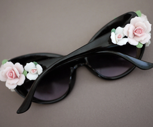 sunglasses, flowers, and fashion image