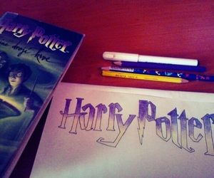 book, drawing, and harry potter image