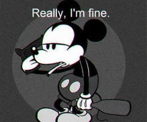 mickey mouse, black and white, and mickey image