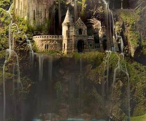 castle, waterfall, and water image