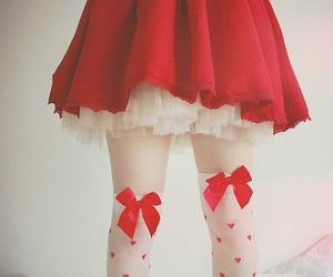 red, bow, and skirt image