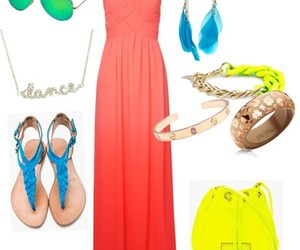 blue, coral, and dress image