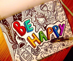happy, be happy, and drawing image
