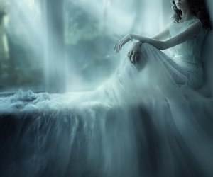 beautiful, dress, and fog image