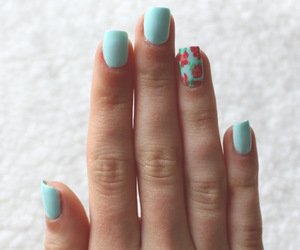 nails, floral, and blue image