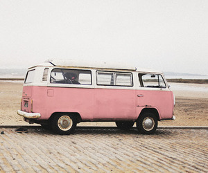 pink, car, and beach image