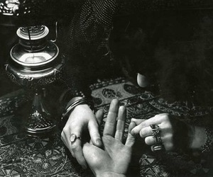 black and white, present, and fortune teller image