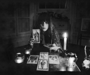 tarot, black and white, and witch image