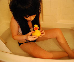 girl, duck, and cute image
