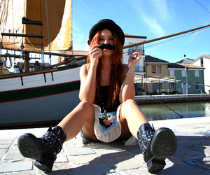 girl, fashion, and mustache image