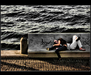 couple, lovers, and waterfront image