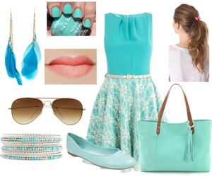 dress, light blue, and Polyvore image