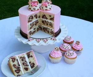 cake, pink, and cupcake image