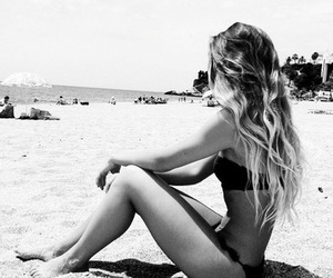 beach, high heels, and long hair image