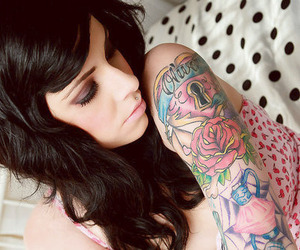 tattoo, girl, and piercing image