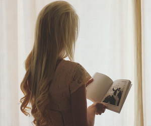 blonde, bookworm, and dreamy image