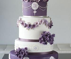cake, purple, and flowers image