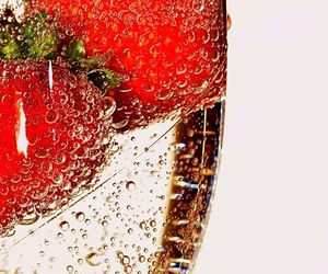 strawberry, champagne, and drink image
