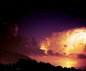 clouds, tree, and lightning image