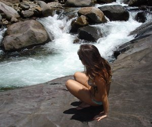 fashion, nature, and waterfall image