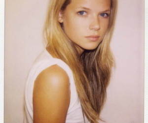 blond hair, blue eyes, and model image