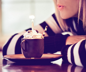 girl, birthday, and coffee image