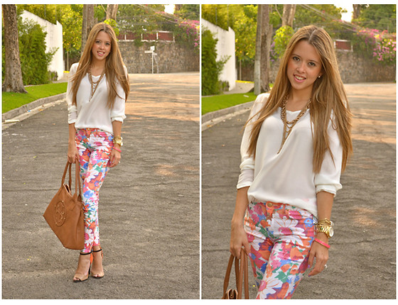blonde, blouse, and floral image