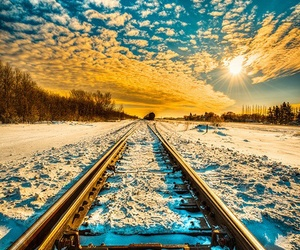 blue, snow, and trains image