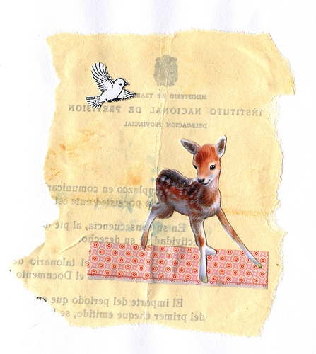 art, Collage, and fawn image