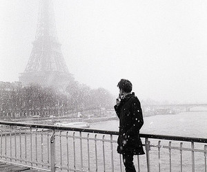 paris, snow, and boy image