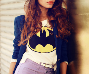fashion, girl, and batman image
