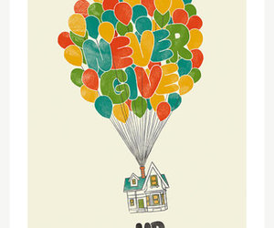 up, balloons, and never give up image