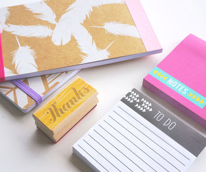 desk, desk supplies, and feathers image