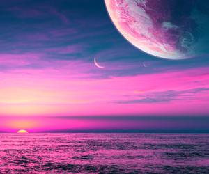 beach, beautiful, and moon image