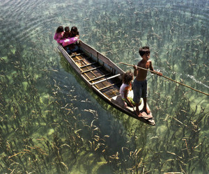 boat, child, and water image