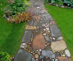 garden, stone, and path image