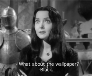 60's, b&w, and Morticia Addams image