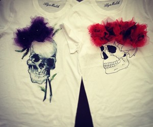 fashion, flowers, and scull image