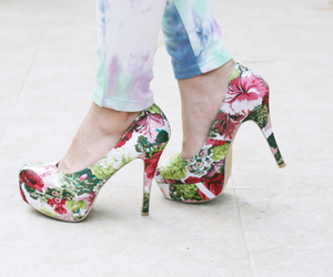 heels, fashion, and flowers image