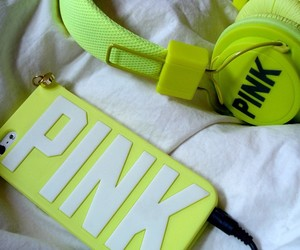 pink, iphone, and headphones image