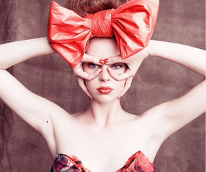 girl, bow, and red image