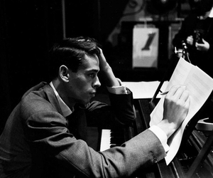 black and white, piano, and jacques brel image
